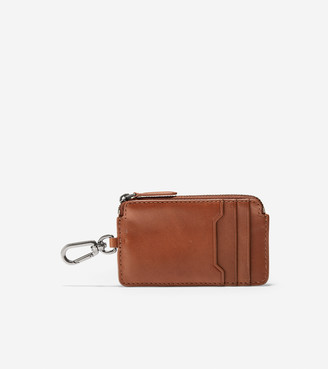 Cole Haan GRANDSERIES Leather Zip Card Case With Key Ring