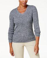Karen Scott Cotton Marled V-Neck Sweater, Created for Macy's