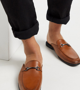 ASOS DESIGN Wide Fit backless mule loafer in tan faux leather