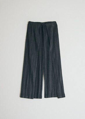 Pleats Please Issey Miyake Women's Tie Front Thicker Bottom Pants in Black, Size 3