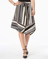 NY Collection Striped Asymmetrical Skirt