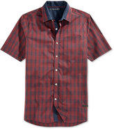 Sean John Men's Plaid Contrast-Trim Short-Sleeve Shirt
