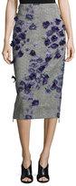 Jason Wu Jacquard Pencil Skirt w/Floral Appliques, Black/Iris