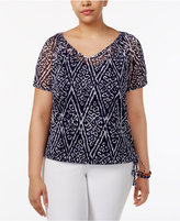 INC International Concepts Plus Size Printed Drawstring Top, Created for Macy's