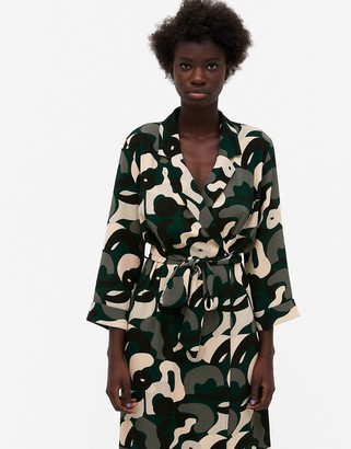 Monki Andie recycled abstract print midi shirt dress in multi
