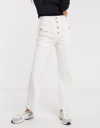 And other stories & button fly cord trousers in off-white-Cream