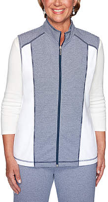 Alfred Dunner Women's Outerwear Vests MULTI - Gray & White Color Block Texture Zip-Up Jacket - Women & Plus