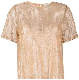 Forte Forte lurex chantilly-lace T-shirt