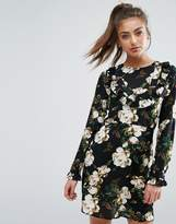 Boohoo Frill Front Floral Dress