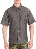 PRPS Men's Came Trimmed Denim Shirt