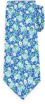 Isaia Floral-Print Silk-Cotton Tie