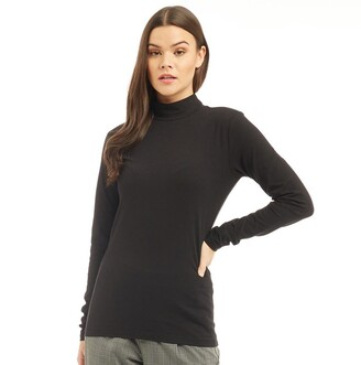 Jacqueline De Yong Womens Ava Long Sleeve Turtleneck Top Black