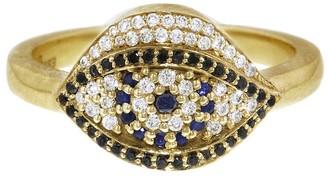 Diamond and Sapphire Evil Eye Ring - Yellow Gold