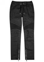 Balmain Black Coated Denim Jogging Trousers