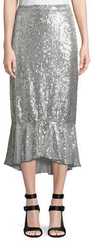 Alice + Olivia Kina Sequined Midi Pencil Skirt w/ Flounce Hem