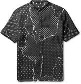 Haider Ackermann Grandad-Collar Grosgrain-Trimmed Printed Silk-Twill Shirt