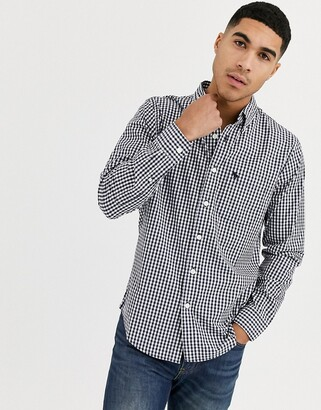 Abercrombie & Fitch icon logo slim fit gingham check poplin shirt in navy/white