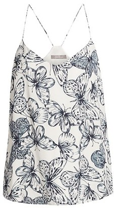 Lela Rose Butterfly-Print Georgette Camisole