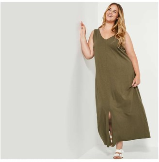 Joe Fresh Women+ V-Neck Dress, Olive (Size 1X)