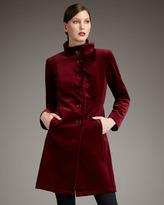 Jane Post Velvet Ruffle-Front Coat
