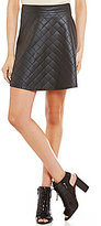 Soprano Quilted Faux-Leather Skater Skirt