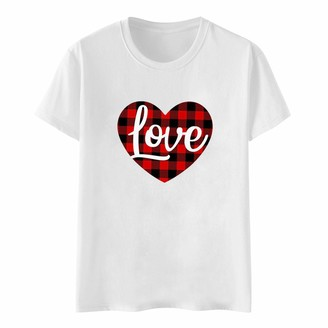Jiegorge Women's Blouse Womens Valentine's Day Heart Printed Short Sleeve Tops Blouse T-Shirt