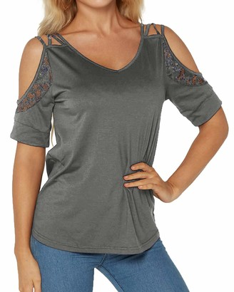 YOINS Women Sexy Cold Shoulder Tops Lace Short Sleeve Blouses Casual Summer T-Shirts Grey L