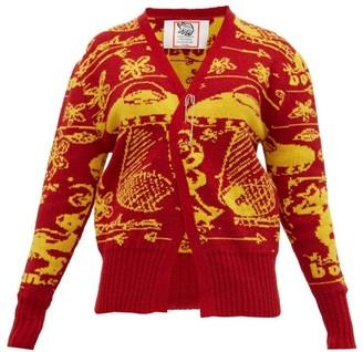 Matty Bovan - Tucked-hem Ufo-jacquard Cardigan - Womens - Red Multi