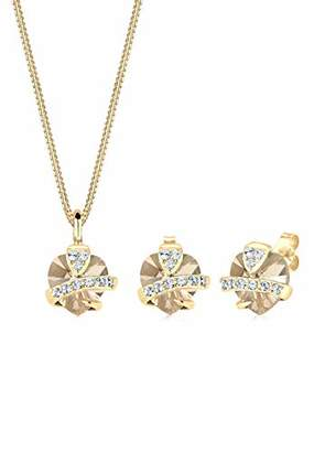 Goldhimmel Women's 925 Sterling Silver Gold Plated Xilion Cut Swarovski Crystals Heart Pendant Necklace of Length 45 cm with Stud Earrings