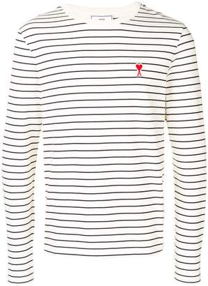 Ami Paris Long Sleeved Striped Tee Shirt With De Coeur Patch