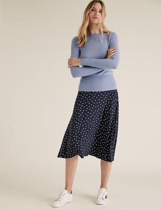 Marks and Spencer Jersey Polka Dot Midi Skater Skirt