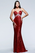 Faviana 7507 Sequined Evening Dress with Side Cut-Outs