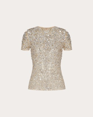 Valentino Embellished Stretch Tulle Top Women Silver Cotton 53%, Elastane 21% 36