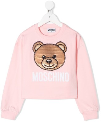 MOSCHINO BAMBINO Embellished-Bear Sweatshirt