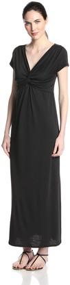 Star Vixen Women's Short Sleeve Twist Front Maxi Dress