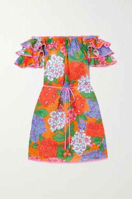 Zimmermann Riders Off-the-shoulder Ruffled Floral-print Linen Mini Dress - Orange