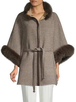 Wolfie Fur Made For Generation Fox-Fur Trim Wool Cashmere Cape Jacket