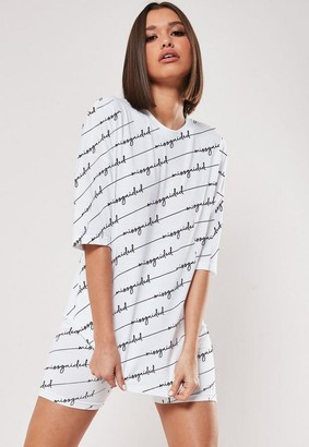 Missguided White Co Ord All Over Print T Shirt