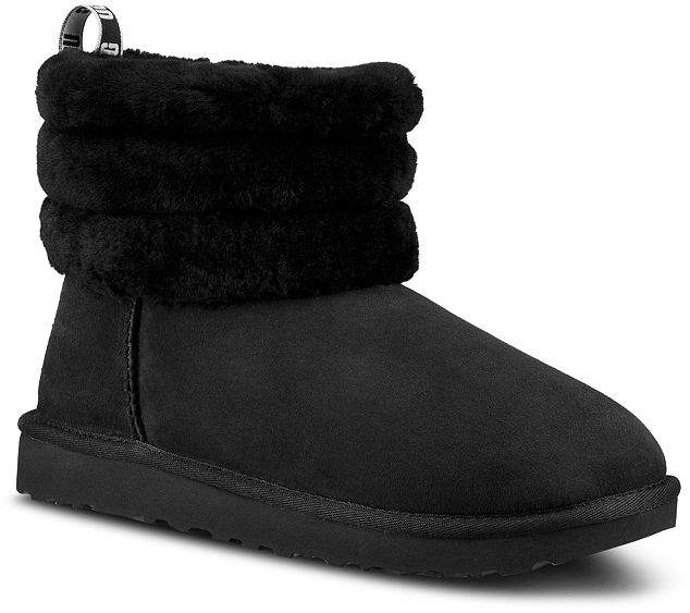 9bec2ae7a3 Women's Fluff Mini Quilted Round Toe Suede & Sheepskin Booties