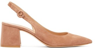 Gianvito Rossi Agata Point-toe Suede Slingback Pumps - Womens - Nude