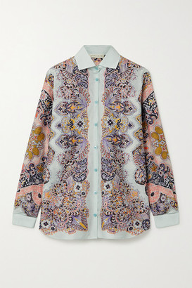Etro Paisley-print Silk And Cotton-blend Shirt - Mint