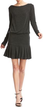 Bailey 44 Zoe Boat-Neck Long-Sleeve Flounce Hem Mini Dress