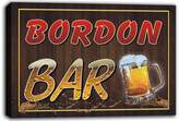 AdvPro Canvas scw3-040402 BORDON Name Home Bar Pub Beer Mugs Stretched Canvas Print Sign