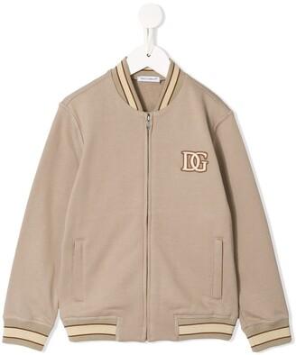 Dolce & Gabbana Kids Logo Patch Baseball Jacket
