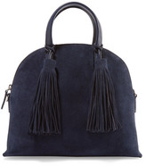 Loeffler Randall Dome Leather-trimmed Suede Satchel - Midnight blue