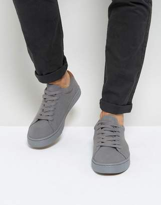 Asos Design DESIGN lace up sneakers in gray real suede