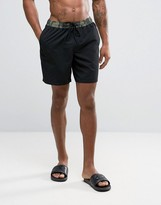 Asos Swim Shorts With Camo Waistband In Mid Length