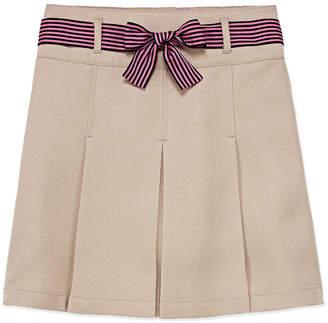 Izod EXCLUSIVE Exclusive Girls Elastic Waist Belted Short Scooter Skirt