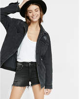 Express black distressed denim boyfriend jacket
