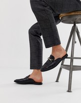Asos Design DESIGN backless mule loafer in black faux leather with croc effect